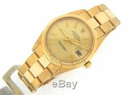 Rolex Date 15038 Mens Solid 18K Yellow Gold Watch Oyster Band Champagne Dial