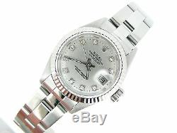 Rolex Datejust Ladies Stainless Steel/18k White Gold Watch Silver Diamond Dial