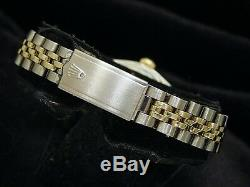 Rolex Datejust Ladies Two-Tone 14K Yellow Gold & Steel Watch Silver Diamond 6917