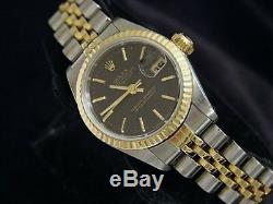 Rolex Datejust Ladies Two-Tone 18K Gold & Steel Watch Black Tapestry Dial 69173