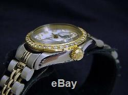 Rolex Datejust Lady 2Tone 14K Gold Steel Watch White MOP with Diamond Dial & Bezel