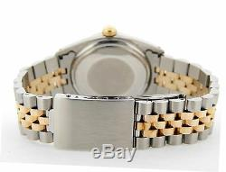 Rolex Datejust Men Two-Tone 14k Gold Stainless Steel Champagne Diamond Dial 1601