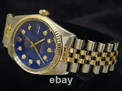 Rolex Datejust Mens 18k Gold & Steel Watch with Submariner Blue Diamond Dial 16013