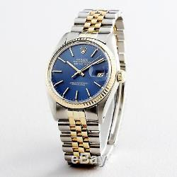 Rolex Datejust Mens 2T 18K Yellow Gold Steel Watch Jubilee Band Blue Dial 16013