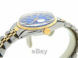 Rolex Datejust Mens 2Tone 14K Yellow Gold & Steel Watch Jubilee Blue Dial 1601