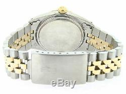 Rolex Datejust Mens 2tone 14k Gold Stainless Steel Jubilee with Black Diamond Dial