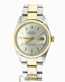 Rolex Datejust Mens Two-Tone 14K Gold Stainless Steel Oyster with Silver Dial 1601