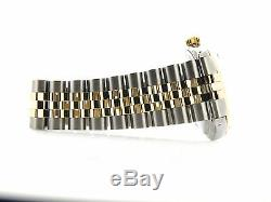 Rolex Datejust Mens Two-Tone 14K Yellow Gold Stainless Steel with Black Dial 1601
