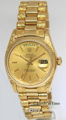 Rolex Day-Date President Florentine 18k Yellow Gold Mens 36mm Watch 18038