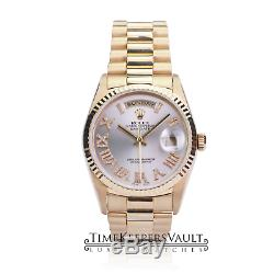 Rolex Day-date 18038 Silver Roman Dial 18k Yellow Gold Automatic Men's Watch