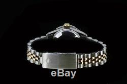 Rolex Ladies Datejust Oyster 14K Gold Stainless Steel Diamond Dial Bezel Watch