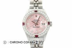 Rolex Ladies Datejust Pink Diamond Dial 18K White Gold & Stainless Steel Watch