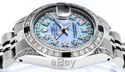 Rolex Ladies Datejust SS & 18K White Gold Blue MOP Diamond Dial Sapphire Bezel