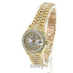 Rolex Lady Datejust 18K Yellow Gold Silver Dial Loaded With High Quality Diamonds