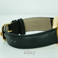 Rolex Men's Day-Date 18238 18K Yellow Gold Green Dial 36mm Black Leather Band