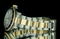 Rolex Men's Submariner 16613 Steel and 18K Gold MOP Dial Blue Insert 40 mm