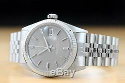 Rolex Mens Datejust Gray Dial 18k White Gold Bezel Stainless Steel Watch