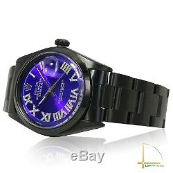 Rolex Mens Datejust SS Black PVD Blue Diamond Roman Numeral Dial Oyster Watch