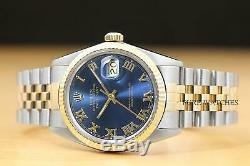Rolex Mens Datejust Two Tone Roman Dial 18k Yellow Gold/steel Watch + Rolex Band