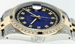 Rolex Mens Datejust Watch Steel-18K Yellow Gold Blue String Diamond Dial 1.65 CT