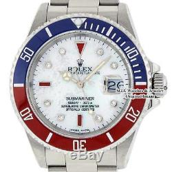 Rolex Mens Pepsi Submariner Date Watch 16610 S. Steel MOP Diamond and Ruby Dial
