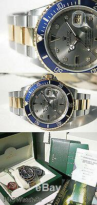 Rolex Submariner 16613 Slate Serti Dial Two Tone Steel & 18k Yellow Gold 40mm