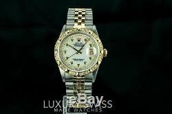 Rolex Watch Mens Datejust 16013 36mm MOP Diamond Emerald Dial Gold Pyramid Bezel