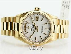 Rolex Watch Mens Day-Date 18038 Presidential Yellow Gold White Stick Dial