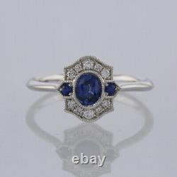 Sapphire and Diamond Cluster Ring 18ct White Gold Size M 1/2