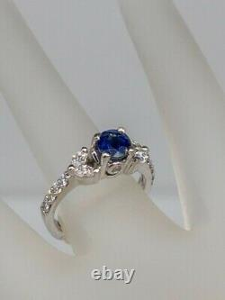 Signed A JAFFE $6000 2ct Natural Blue Sapphire Diamond 18k White Gold Ring