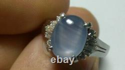 Solid heavy high-quality platinum natural star sapphire diamond ring 8.1 grams