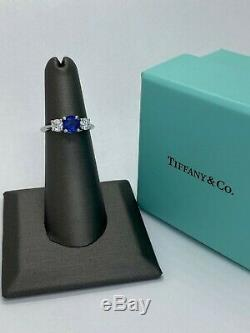 Tiffany & Co 1.33ctw Platinum Round Blue Sapphire and Diamond Ring with Box