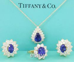 Tiffany & Co 18k 8.33 ct Sapphire & 5.14 ct Diamond Earrings Necklace & Ring Set