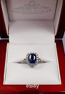Untreated GIA Platinum 3.18 tcw Blue Cushion Cut Natural Sapphire & Diamond Ring