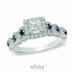 Vera Wang Love Collection 1.2CT. Diamond and Blue Sapphire Engagement Ring SILVR