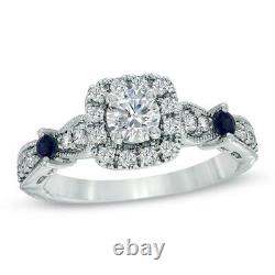 Vera Wang Love Collection 1.7 CT Diamond Blue Sapphire Vintage Ring 14k Gold Fn