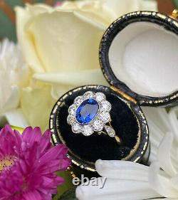 Victorian Sapphire and Diamond Cluster 18ct Yellow Gold Ring 0.95ct + 1.25ct