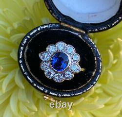 Victorian Sapphire and Diamond Cluster Ring 18ct Yellow Gold 0.90ct + 1.20ct