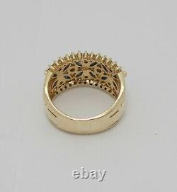 Vintage 1.22CT Natural Sapphire and Diamond Ring Band 14K Yellow Gold