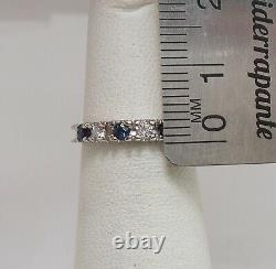Vintage 1/4CT Natural Sapphire and Diamond Band Ring 10K White Gold