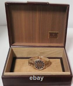 Vintage 1978 Rolex Day-Date 18K Mens Brown Ombre Diamond Dial Watch 18038