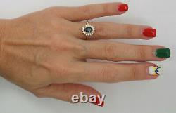 Vintage 1CT Natural Sapphire and Diamond Halo Ring Band 14K Yellow Gold