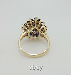Vintage 2.50CT Natural Sapphire and Diamond Cocktail Ring Band 14K Yellow Gold