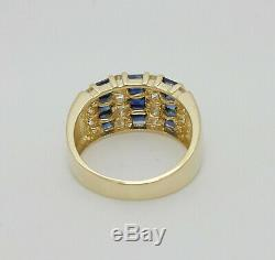 Vintage 2CT Natural Sapphire and Diamond Ring Band 14K Yellow Gold