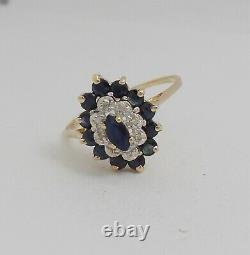Vintage 3/4CT Natural Sapphire and Diamond Ring Band 10K Yellow Gold