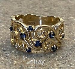 Vintage BH Effy 14K Yellow Gold Natural Blue Sapphire Diamond Cocktail Wide Ring