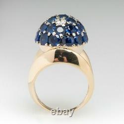 Vintage Dome Cocktail Ring Blue Sapphire & Diamond Ring 14K Yellow Gold Over