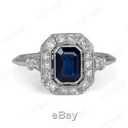 Vintage Engagement Wedding Ring 14k Solid White Gold Sapphire and Diamond 1.30ct
