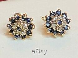 Vintage Estate 14k Gold Natural Blue Sapphire Diamond Halo Earrings Flower Halo
