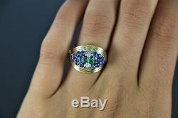 Vintage Estate 18K Yellow Gold ITALY Green Emerald Natural Sapphire Diamond Ring